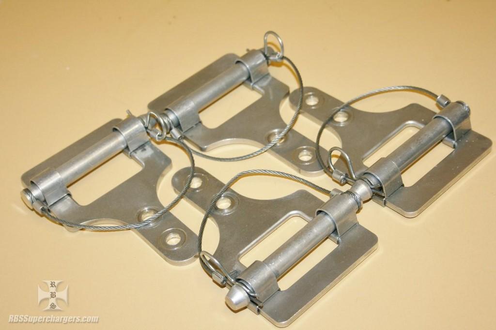 Used blower restraint alum header bracket pins set of four for Blower motor mounting bracket