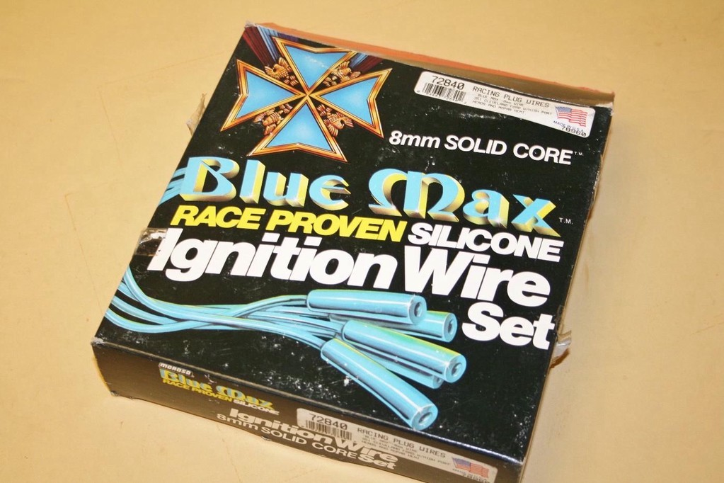 Used Moroso Blue Max Solid Core Hemi Spark Plug Wire Set #72840 on solid core tires, copper core spark plug wires, scott plug wires, solid copper spark plug wires, moroso plug wires,